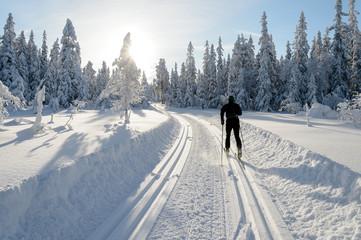 Man skiing, skislopes, winter in Norway