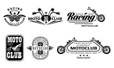 Vector set of vintage motorcycle club logos. Monochrome emblems with motorbikes, steering bars, helmets and text