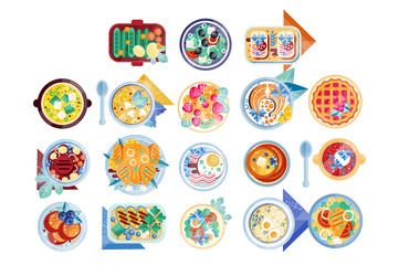 Food icon set. Plates with different dishes green salad, soup with boiled eggs, pancakes, sandwiches, fish with lemon, mashed potatoes with chicken, cranberry pie. Flat vector