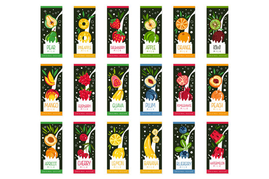 Labels for fruits milk. 9 different tastes apple, orange, kiwi, plum, pomegranate, peach, banana, blueberry and watermelon. Flat vector product package design