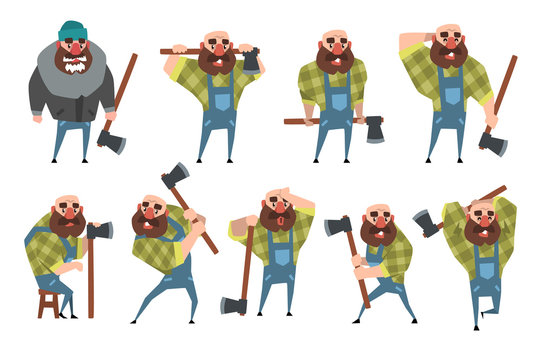 Set of funny bald lumberjack in different poses. Cartoon bearded man with axe. Woodcutter in blue coveralls, hipster plaid shirt, warm jacket, hat. Flat vector design