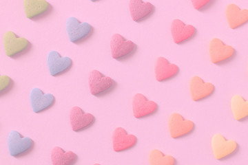 Colorful candy hearts