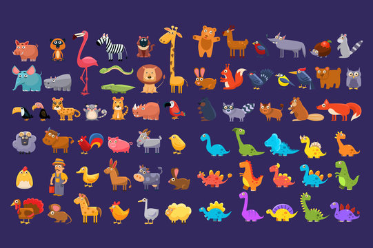 Cartoon collection of funny animals. Colorful elements for children s book, education card, mobile game or sticker. Wildlife concept. Flat vector design