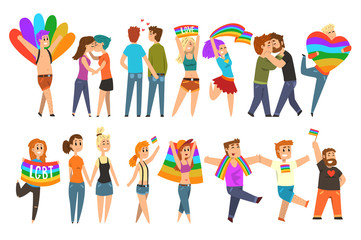 Lgbt community celebrating gay pride, love parade cartoon vector Illustrations on a white background