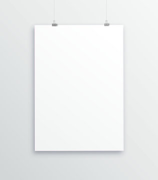 A3, A4 vertical blank picture frame for photographs. Picture in the gallery with suspension . Isolated picture frame mockup template on gray background. Paper-stretched tablet. Vector. Binder clips