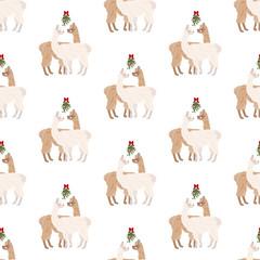 Llama under mistletoe seamless pattern