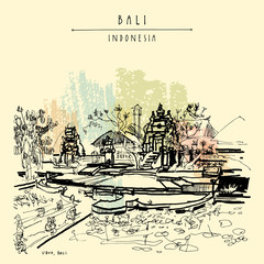 Ubud, Bali, Indonesia. Vector hand drawn postcard