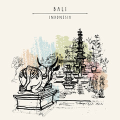Bali, Indonesia. Vector hand drawn postcard