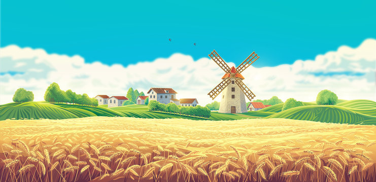 Rural summer landscape with the village and the mill and a large field of wheat. Raster illustration.