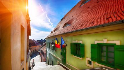 Historical old buildings in the medieval city Sibiu- Hermannstadt
