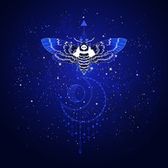 Vector illustration with hand drawn butterfly Dead head and Sacred geometric symbol against the starry sky. Abstract mystic sign. Linear shape.