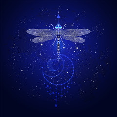 Vector illustration with hand drawn dragonfly and Sacred geometric symbol against the starry sky. Abstract mystic sign. Linear shape.