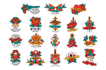 Colorfull tattoos in vintage style set of vector Illustrations