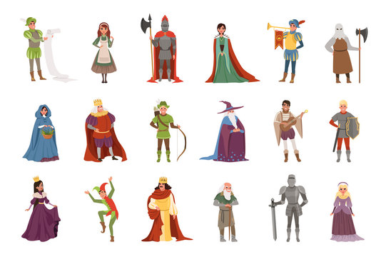 Medieval people characters set, European middle ages historic period elements vector Illustrations