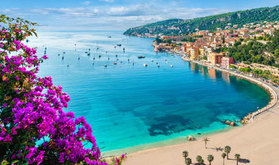 Fotorollo Nice French Riviera coast with medieval town Villefranche sur Mer, Nice region, France