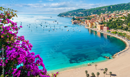 Wall mural French Riviera coast with medieval town Villefranche sur Mer, Nice region, France