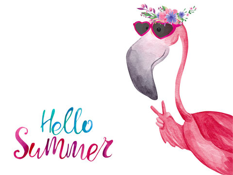 Watercolor flamingo in sunglasses and floral wreath. Hello Summer greeting card