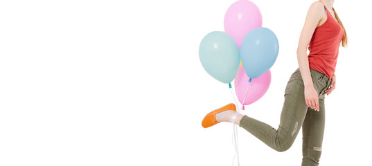 running girl with colored balloons on white background,party holiday concept,copy space
