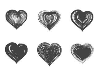 Vector set of grunge hearts.