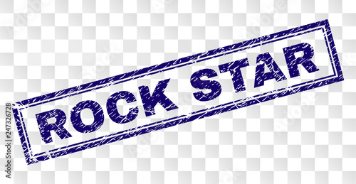 ROCK STAR stamp seal watermark with rubber print style and