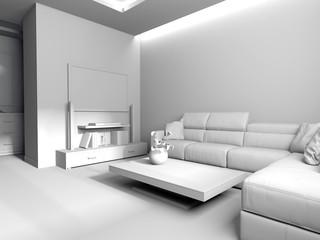 modern interior of living room, 3 d rendering