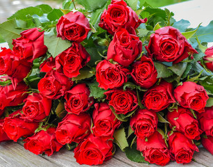 Bouquet of red roses for Valentines day.