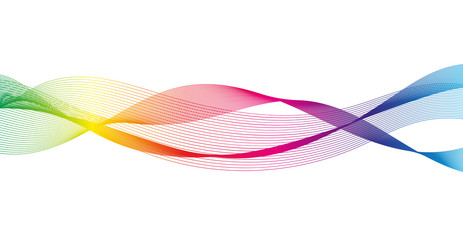 Wave of the many colored lines. Abstract wavy stripes on a white background isolated.