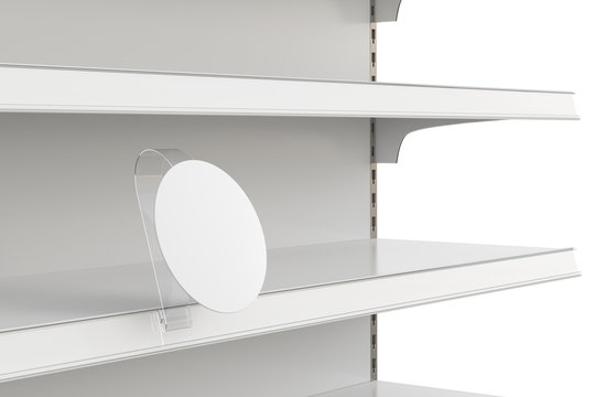 Blank shelf advertising wobbler label or stopper on empty shelf.