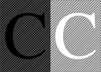 Black and white letters C on an abstract black and white background. Vector illustration.