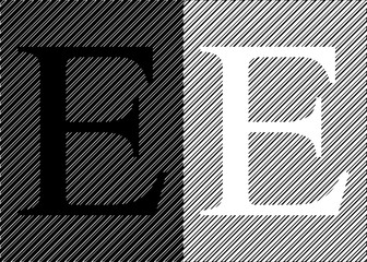 Black and white letters E on an abstract black and white background. Vector illustration.