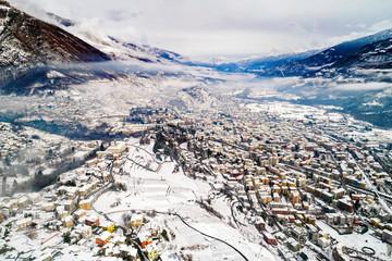 Valtellina (IT) - Sondrio - Vista aerea verso est con frazioni
