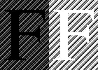 Black and white letters F on an abstract black and white background. Vector illustration.