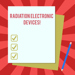 Word writing text Radiation Electronic Devices. Business concept for radio frequency emitted by electronic devices Stack of Blank Different Pastel Color Construction Bond Paper and Pencil