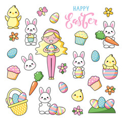 Set of cute kawaii Easter cartoon characters with lettering. Easter bunny, chick, flower, girl and basket of easter eggs. Beautiful Kawaii vector illustration for greeting card/poster/sticker.