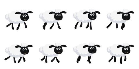 Cartoon trotting sheep animation sprite sheet isolated on white background