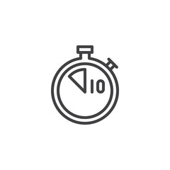 Stopwatch with 10 minutes delivery time line icon. linear style sign for mobile concept and web design. Ten minutes food delivery outline vector icon. Symbol, logo illustration. Pixel perfect