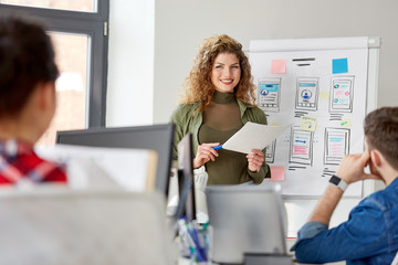 business, technology and people concept - woman showing user interface design on flip chart to creative team at office presentation