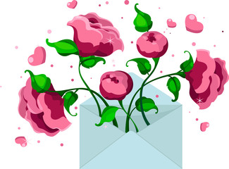 blue envelope with pink peonies and hearts, letter of love, vector illustration. Valentine's Day