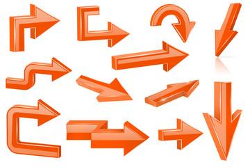 Set of orange arrows. Shiny 3d web icons