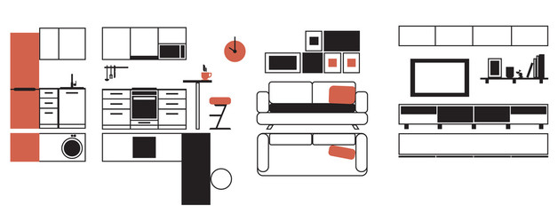 A set of furniture for a small apartment, linear flat. Vector