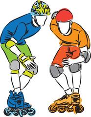 men rollerblade skaters illustration