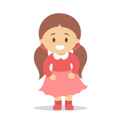 Cute little baby girl standing. Kid in red dress