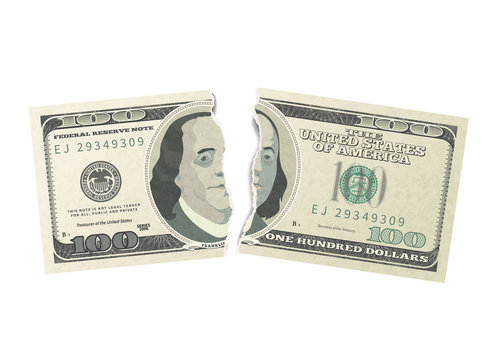 Fake one hundred USA dollars green banknote torn into two pieces on white