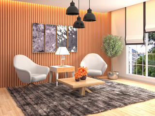 interior with chair. 3d illustration