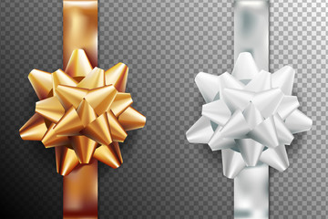 Golden, silver white gift bow set vertical ribbon. Isolated on transparent background. Vector illustration. Christmas, New Year, birthday gold decoration. Banner, greeting card, poster.