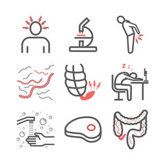 Tapeworms. Symptoms. Line icons set. Vector signs for web graphics.