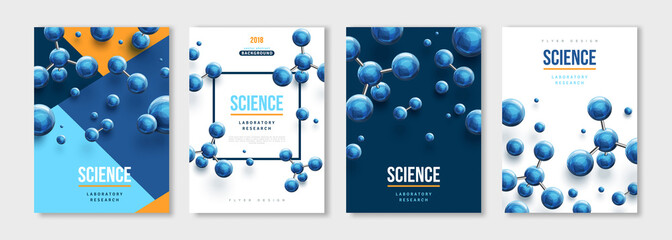 Banners set with blue molecules