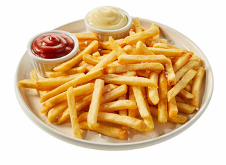 Plate of french fries with ketchup and mayonnaise