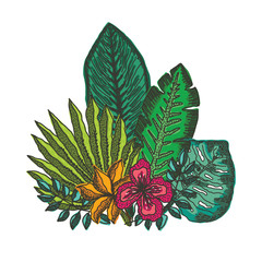 Summer composition of bright hand drawn colorful tropical flowers and leaves, exotic plants. Beautiful vector illustration of floral elements for print design, greeting card decoration, logo