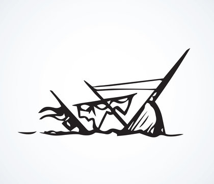 Sunken ship. Vector drawing